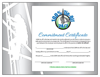 NATE: The Communications Infrastructure Contractors Association | - 100 Tie Off 24/7 Poster Certificate