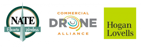 National Association of Tower Erectors (NATE) | Elevate Wireless - NATE, Commercial Drone Alliance, Hogan Lovells combined Logos