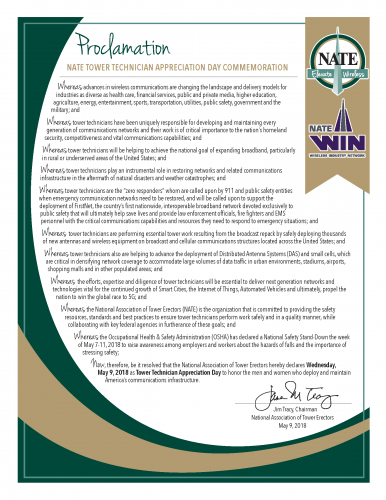 National Association of Tower Erectors (NATE) | Tower Technician Commemoration Proclamation