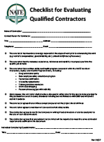 Checklist For Evaluating Qualified Contractors Approved 09 17