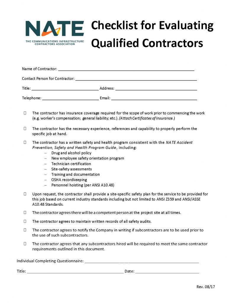 Checklist For Evaluating Qualified Contractors Approved 09 17 Logo Updated 04 02 2020