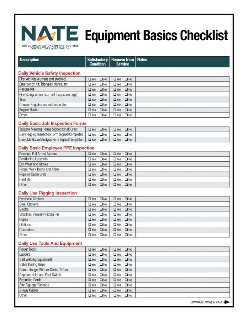 Equipment Checklist Rev Apr 2020 Pg1