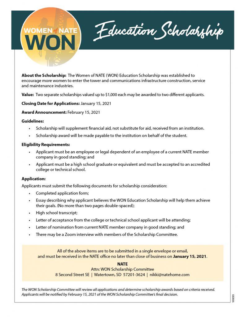 Won Scholarship Form 2020 Pg1
