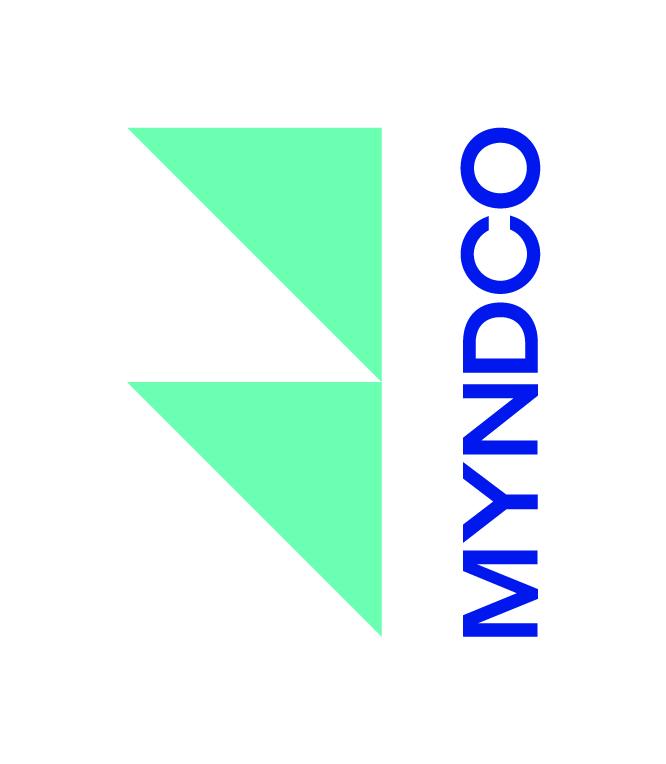 Myndco Logo Turqoise Icon Blue Text Cmyk